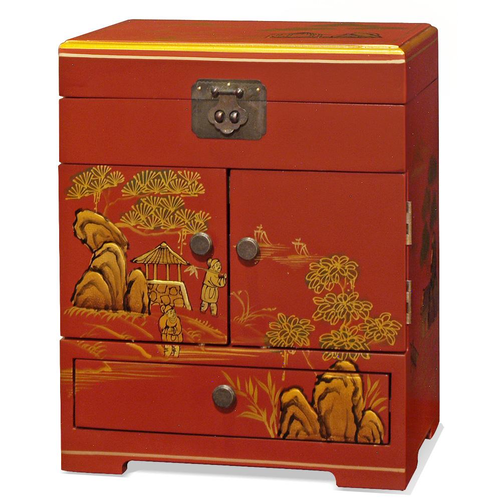 Chinoiserie Scenery Motif Petite Jewelry Chest