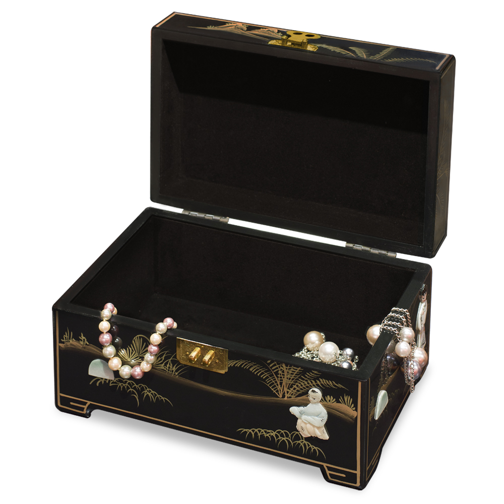 Black Lacquer Courtly Ladies Mother of Pearl Jewelry Box