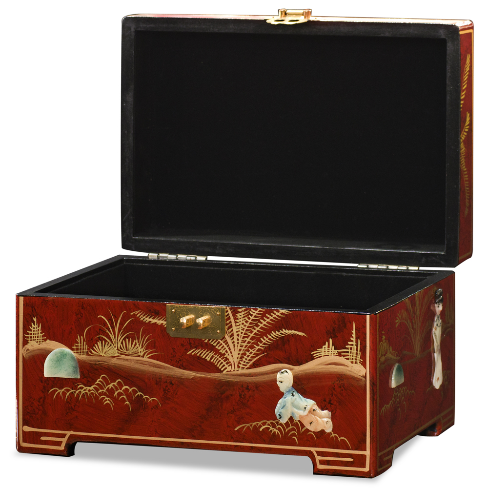 Red Lacquer Courtly Ladies Mother of Pearl Jewelry Box