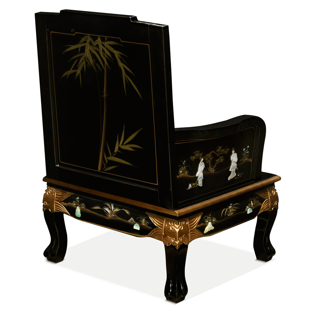 Black Lacquer Mother of Pearl Chinese Sofa Chair