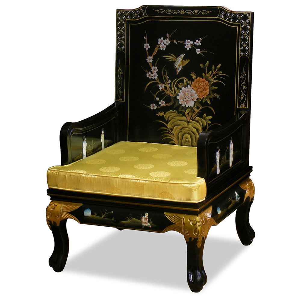 Black Lacquer Dining Room Furniture Hand Painted Grand Imperial Sofa Chair