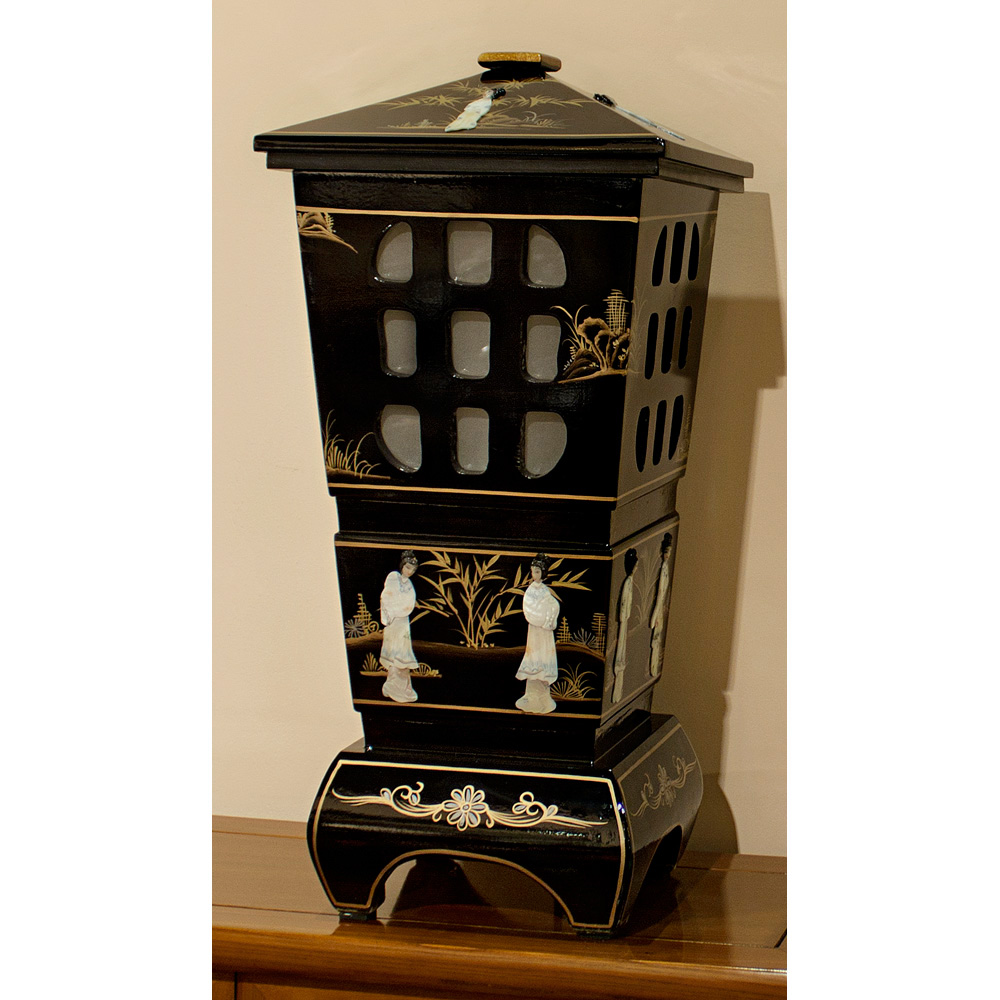 Black Lacquer Mother of Pearl Pagoda Lantern