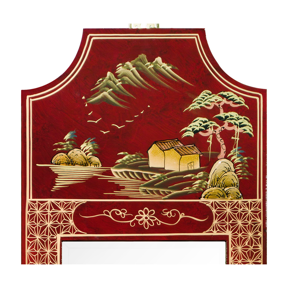 Chinoiserie Scenery Motif Panel Oriental Mirror