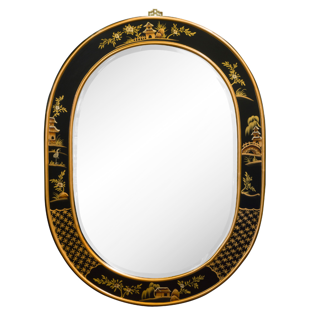Chinoiserie Scenery Design Oval Mirror