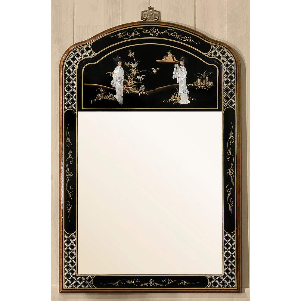 Black Lacquer Mother Of Pearl Mirror