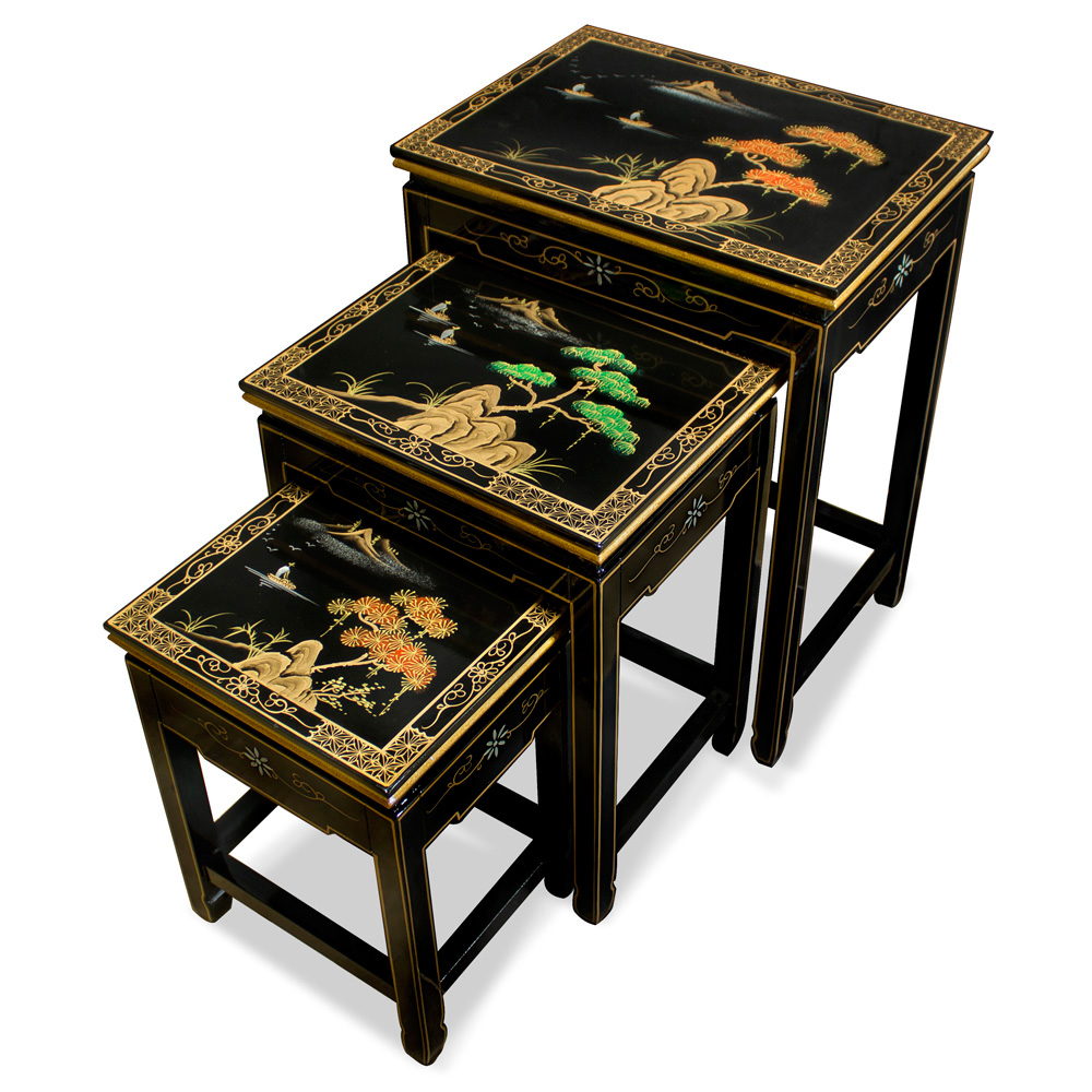 Chinoiserie Scenery Motif Black Nesting Tables