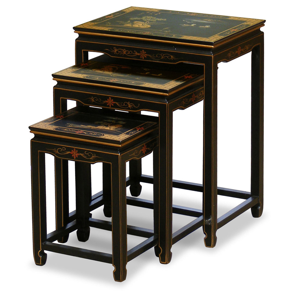 Hand Painted Scenery Design Nesting Tables December 2017