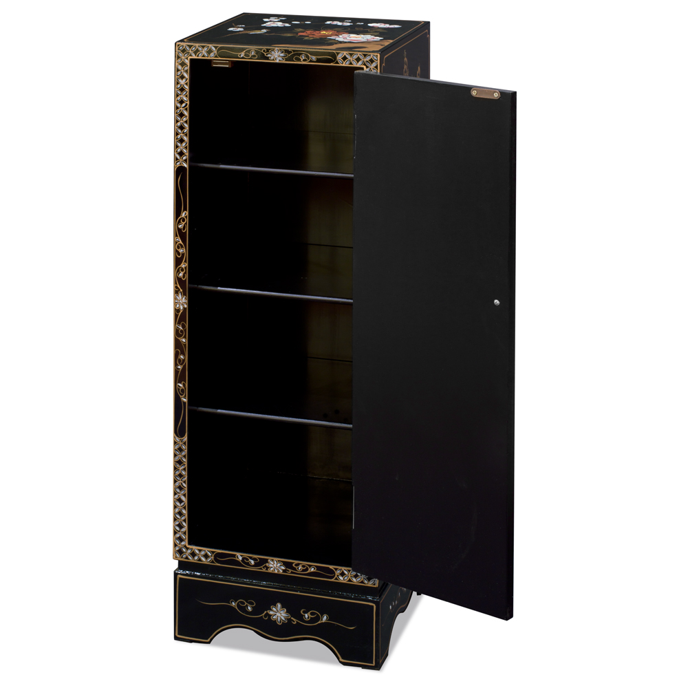 Black Lacquer Mother of Pearl Chinese Pedestal Cabinet