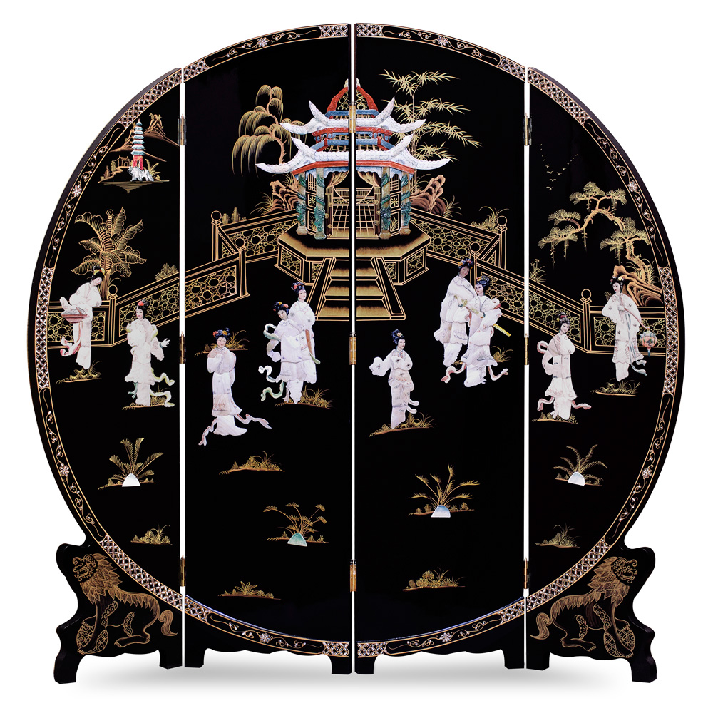 72in Black Lacquer Mother of Pearl Motif Floor Screen