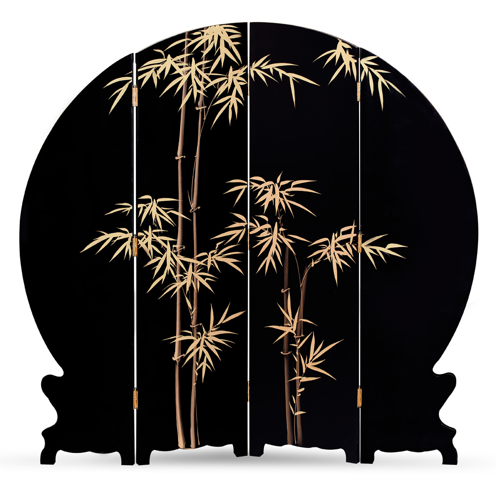 Black Lacquer Mother of Pearl Chinese Round Floor Screen