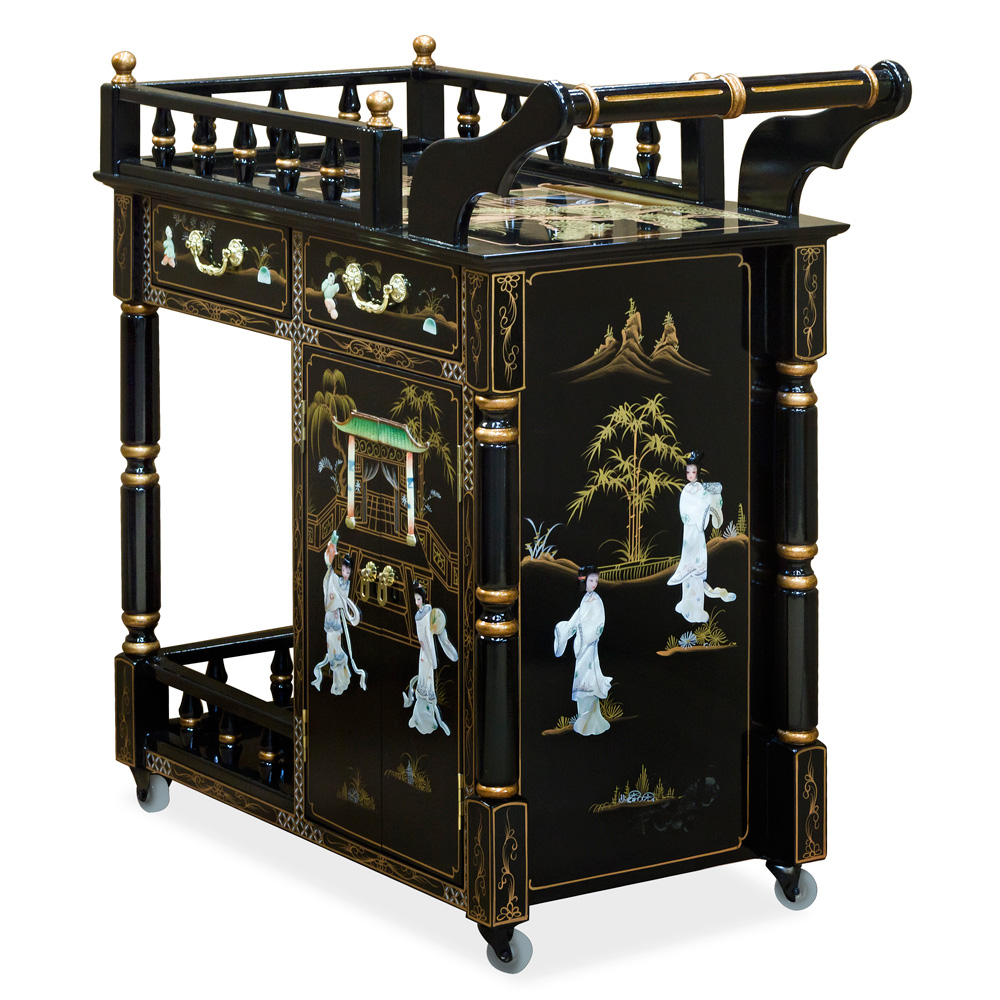 Black Lacquer Mother of Pearl Tea Cart