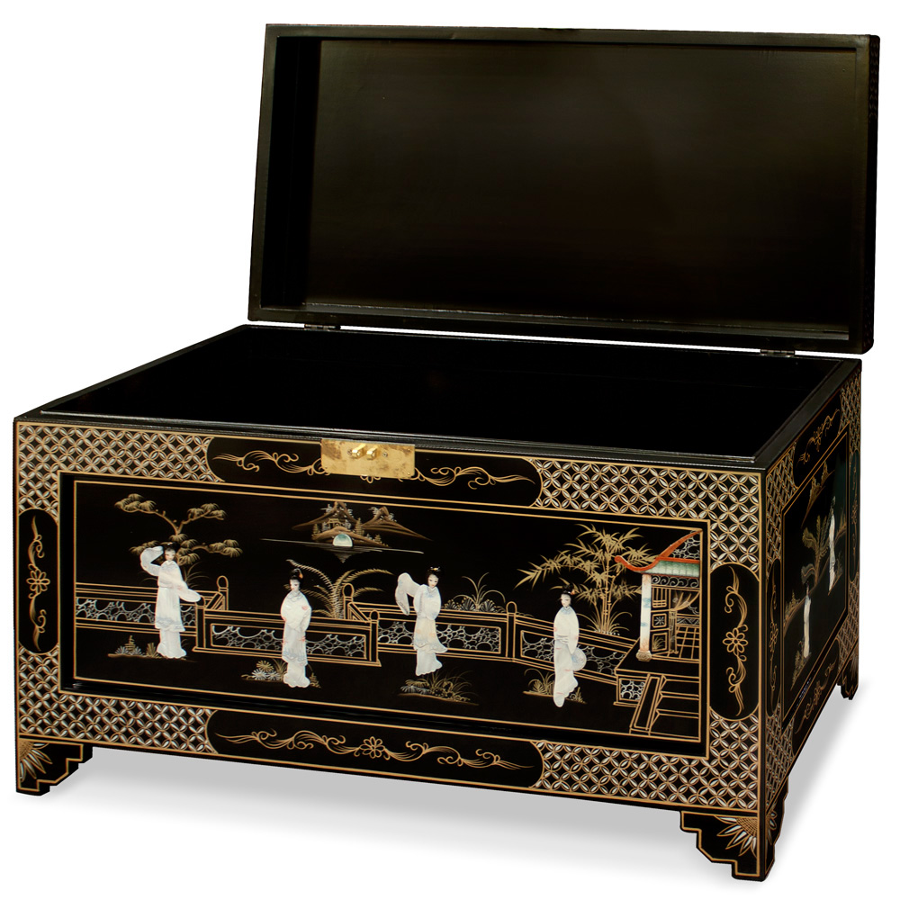 Black Lacquer Mother of Pearl Dowry Trunk