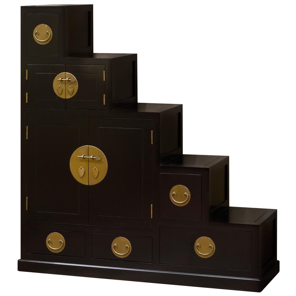 Ming Style Step Tansu - Black