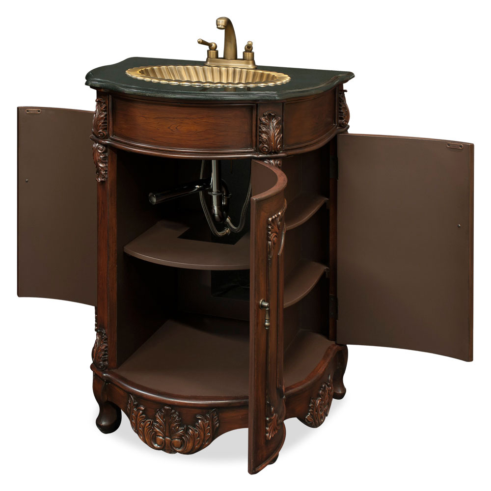 vanity cabinet with brass sink