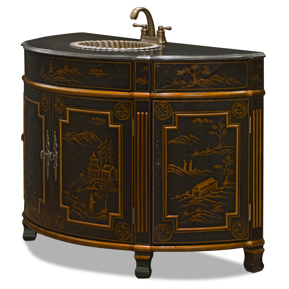 Chinoiserie Scenery Victorian Vanity Cabinet