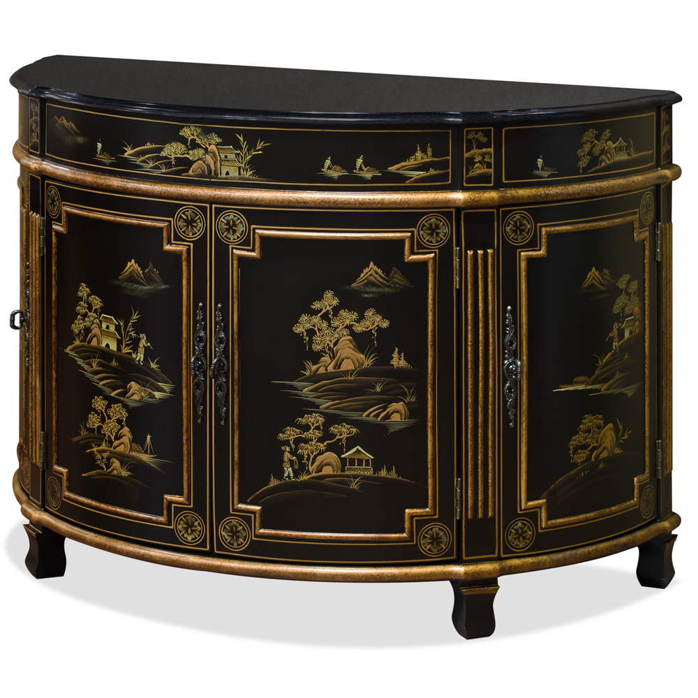 Chinoiserie Scenery French Commode with Granite Top