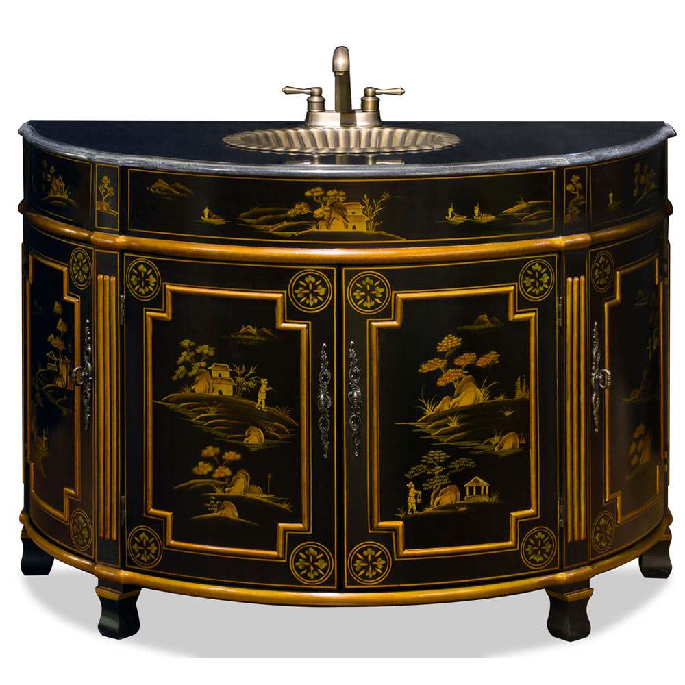 Chinoiserie Victorian Vanity Cabinet