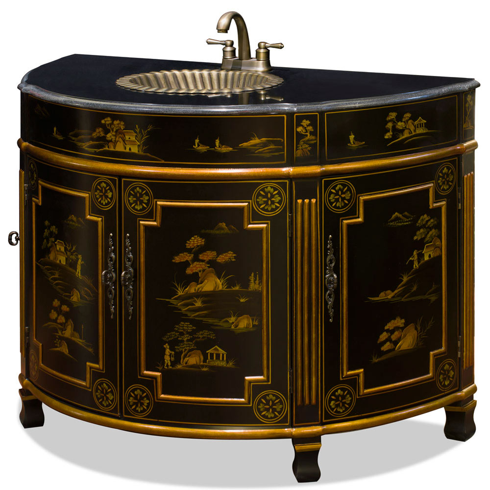 Chinoiserie victorian vanity cabinet for Tansu bathroom vanity