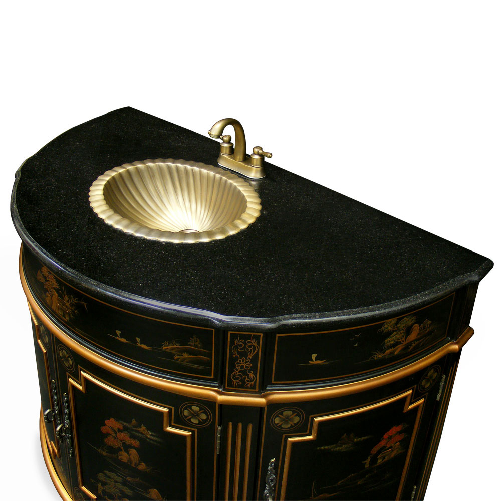 Chinoiserie victorian vanity for Tansu bathroom vanity