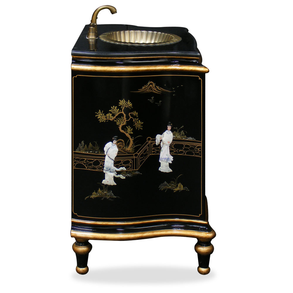 Black Lacquer Vanity Cabinet With Mother Of Pearl Lady Design