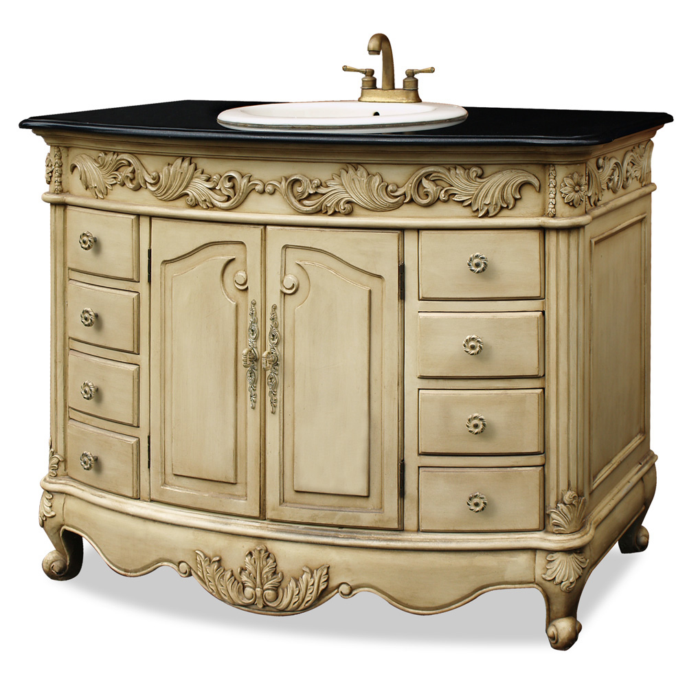 Antique beige vanity with granite top for Tansu bathroom vanity