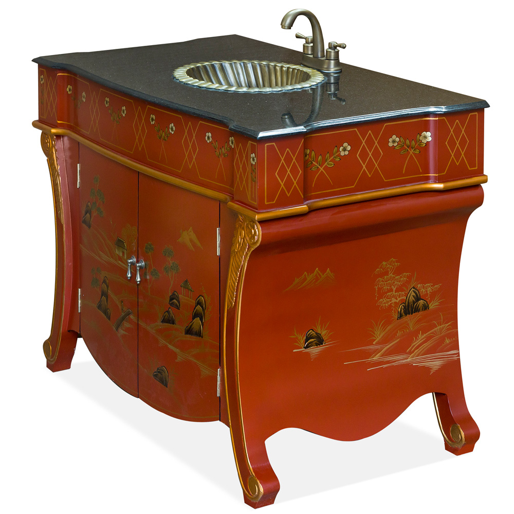 Chinoiserie Scenery French Vanity Cabinet