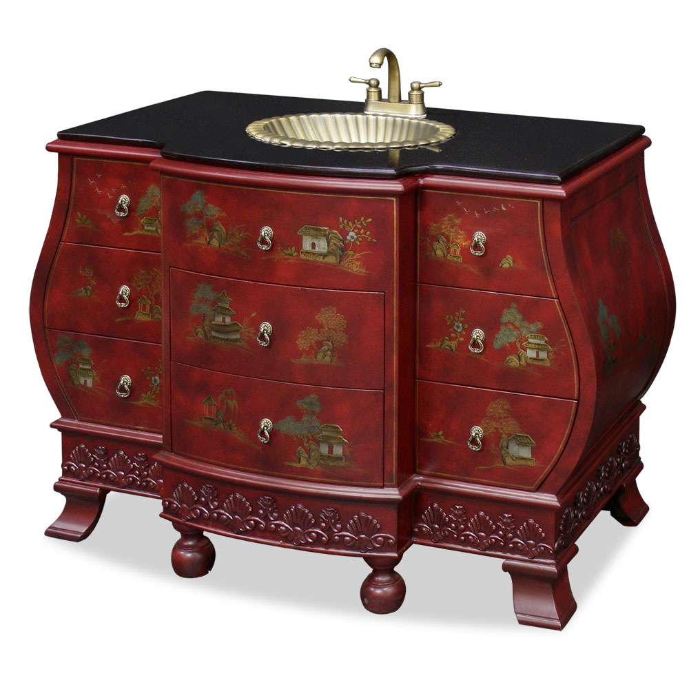 Bombe style vanity cabinet for Tansu bathroom vanity
