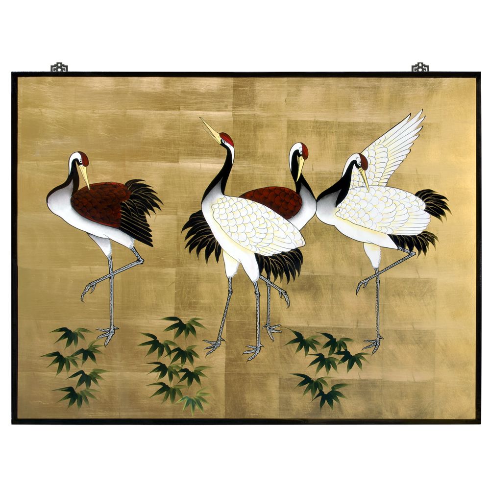 Gold Leaf Tranquility Cranes Asian Wall Art