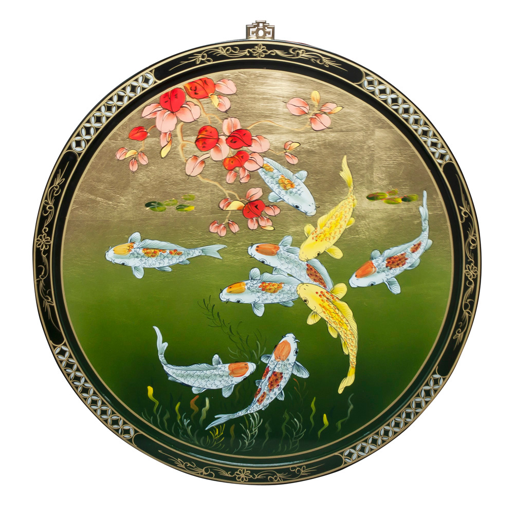 Koi Wall Décor In Gold Leaf : Gold leaf prosperity koi wall plaque