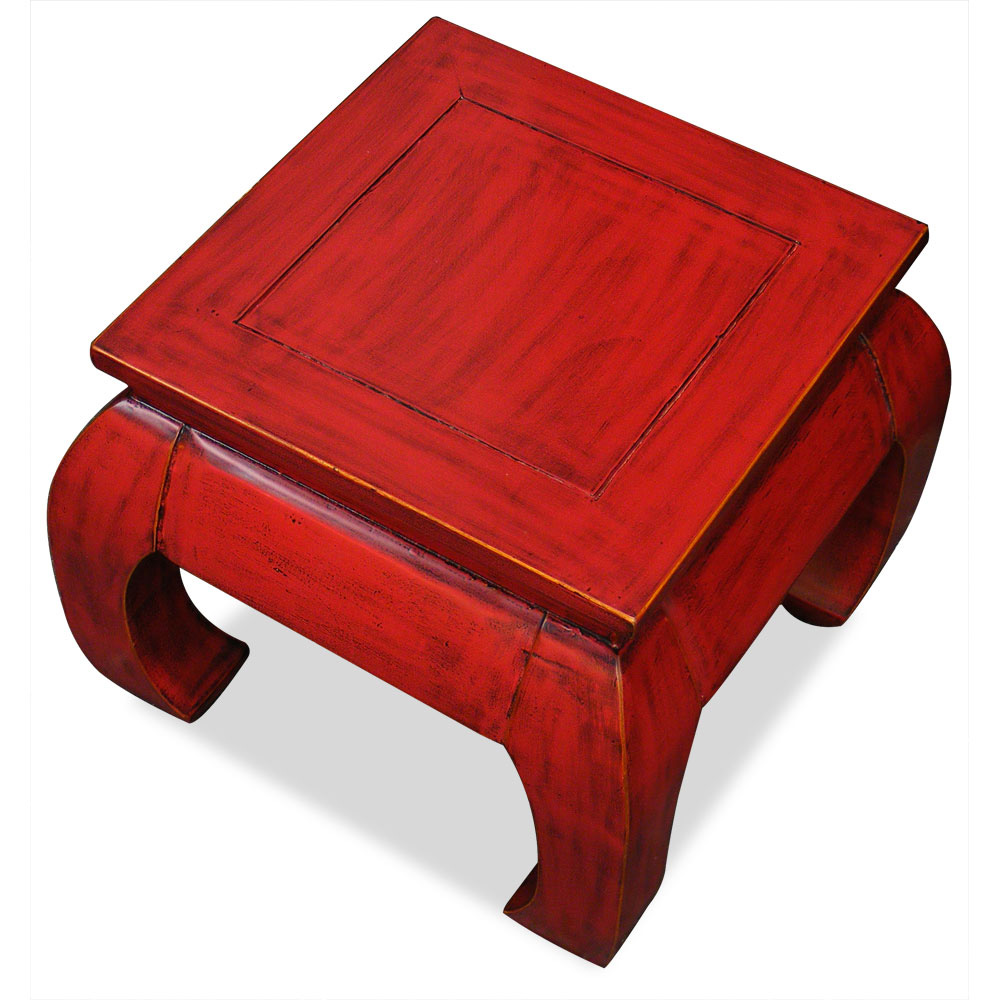 Distressed Red Elmwood Chow Leg Square Table