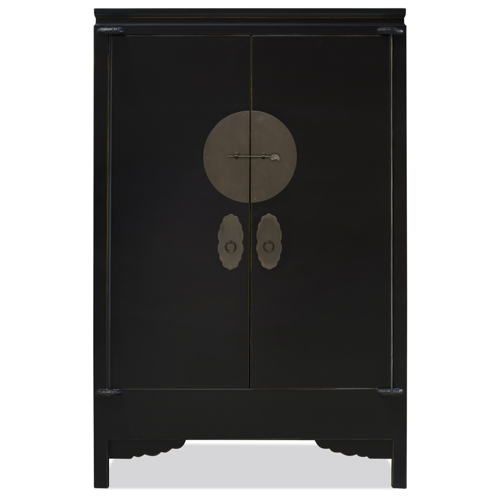 Distressed Black Elmwood Chinese Wedding Cabinet