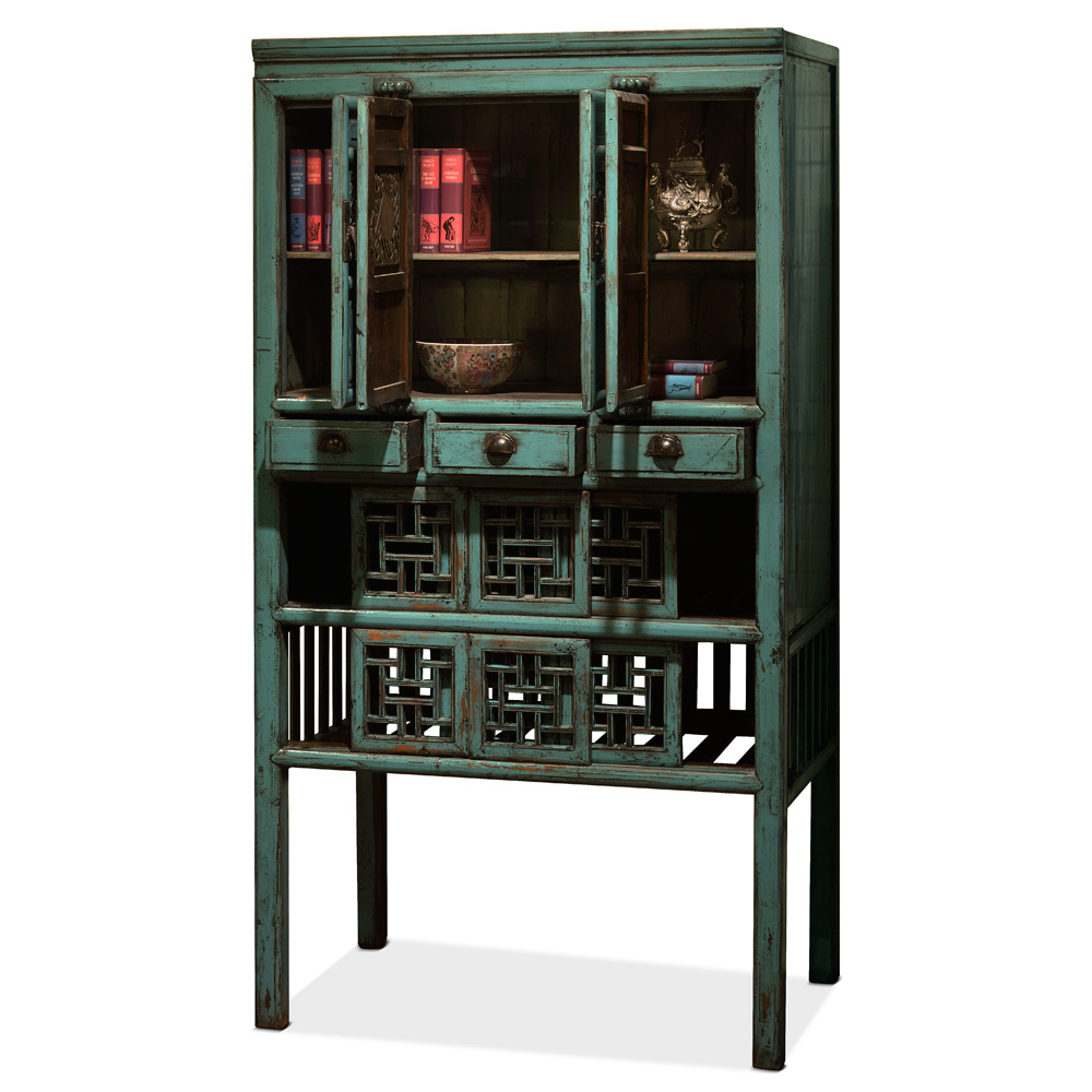 Antique Turquoise Kitchen Cabinet