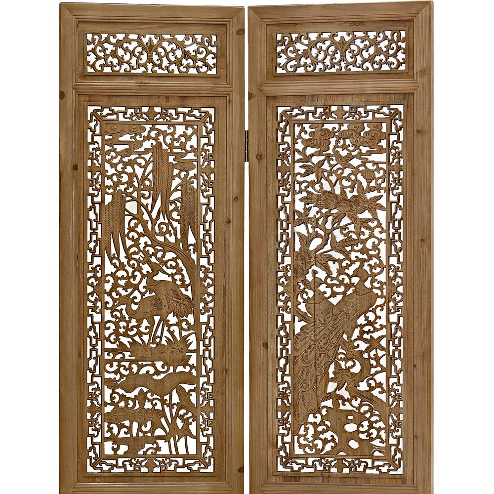 Cedarwood Peacock Intaglio Asian Floor Screen