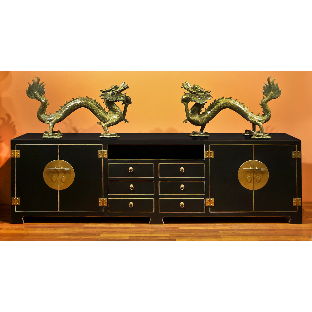 Distressed Black Elmwood Chinese Ming Media Cabinet