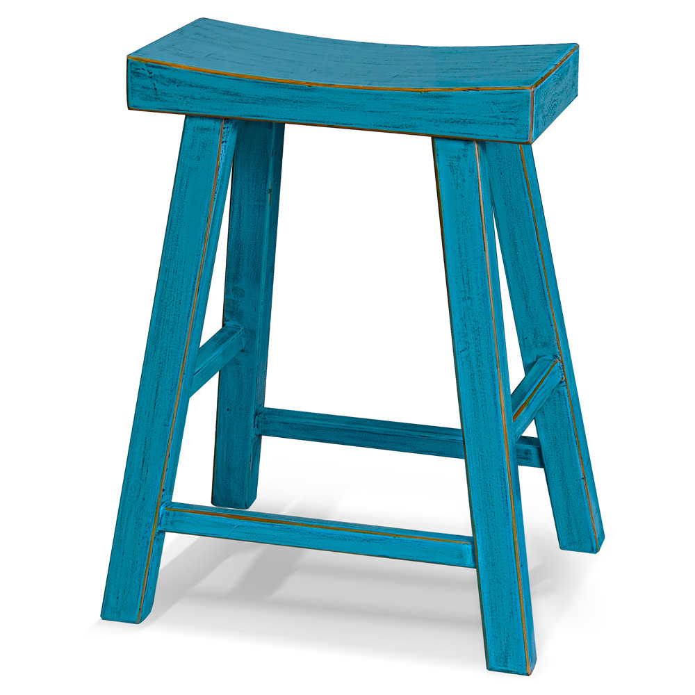 Distressed Blue Elmwood Zen Style Asian Bar Stool