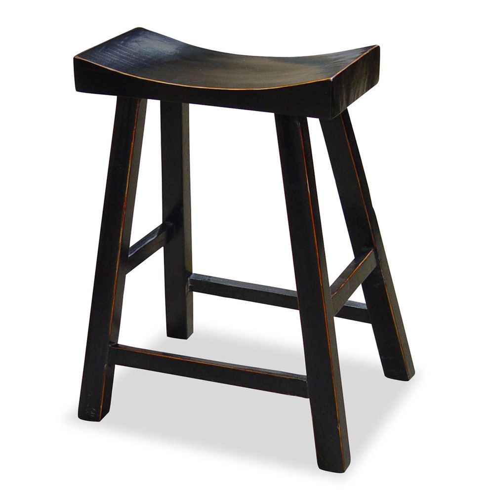 Distressed Black Elmwood Zen Style Asian Bar Stool