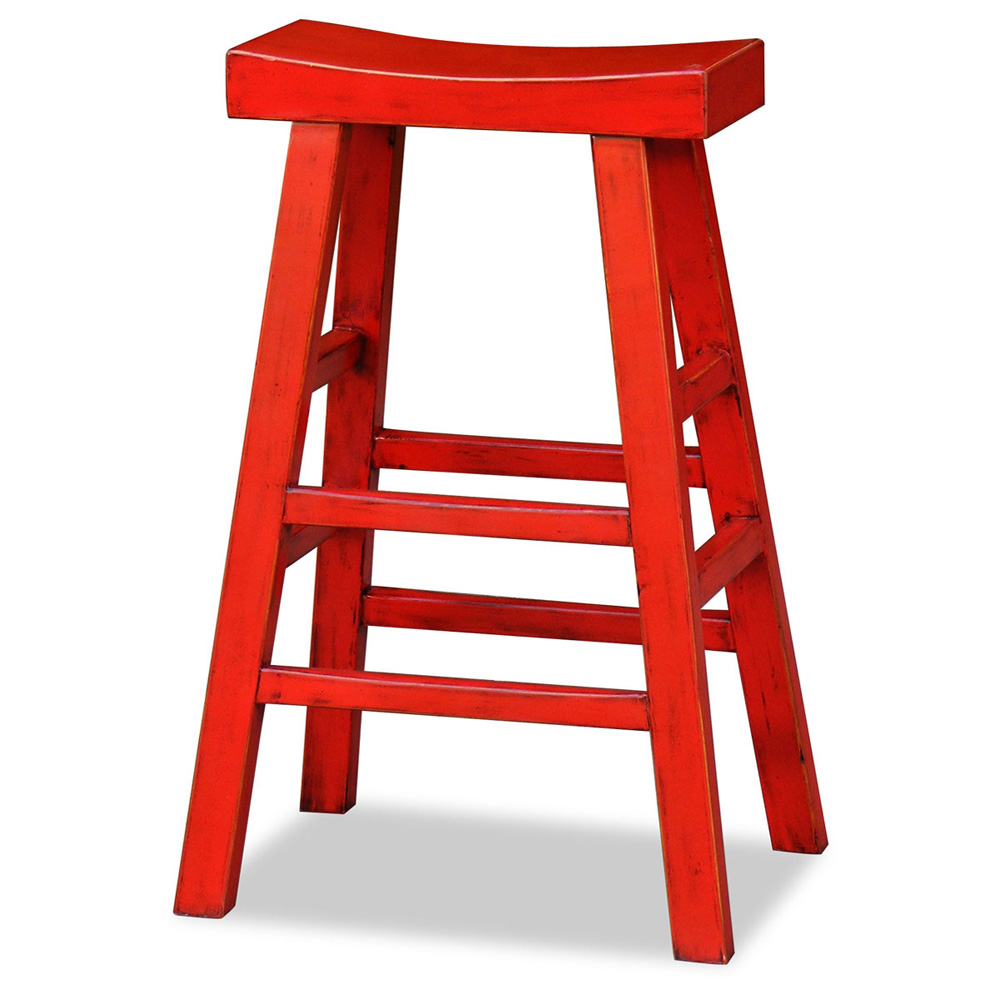 Distressed Red Elmwood Zen Bar Stool