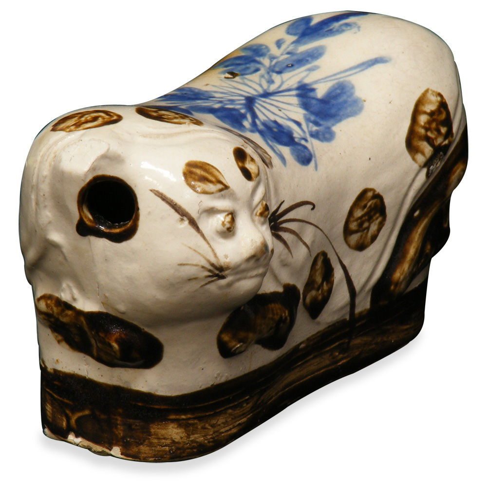 19th Century Porcelain Cat Pillow