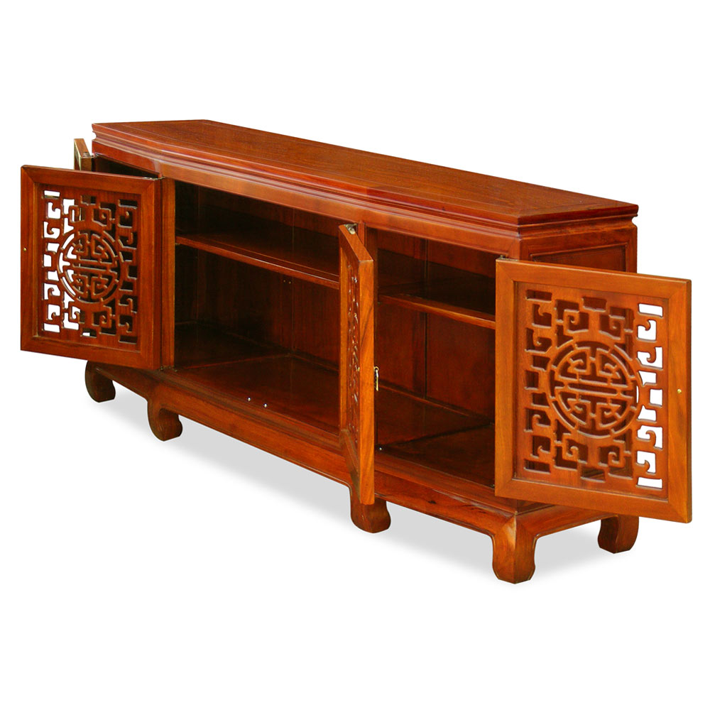 Grand Natural Finish Rosewood Open Longevity Design Sideboard
