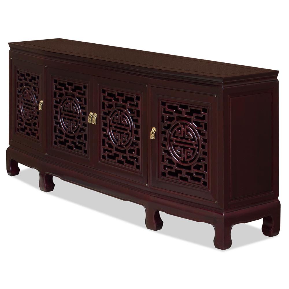 72 Inch Dark Cherry Rosewood Longevity Design Sideboard with Lattice Doors