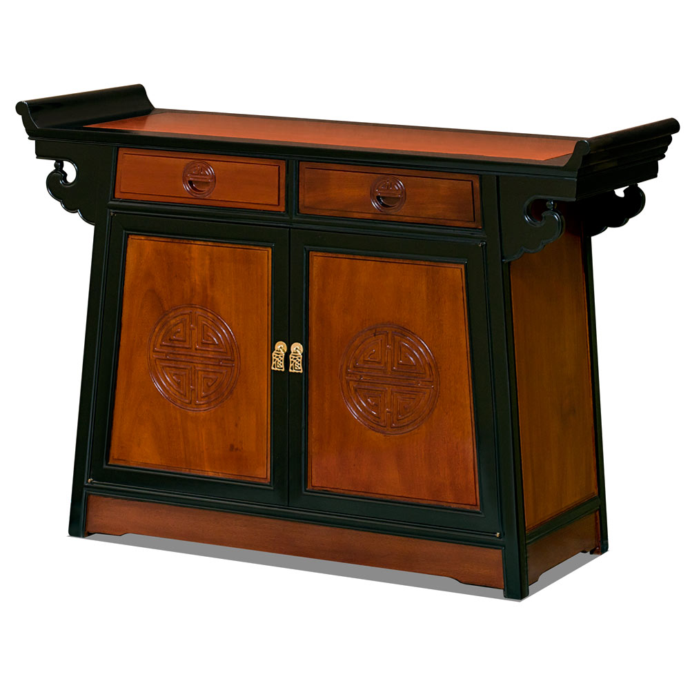 Black Trim Natural Finish Rosewood Chinese Longevity Altar Cabinet