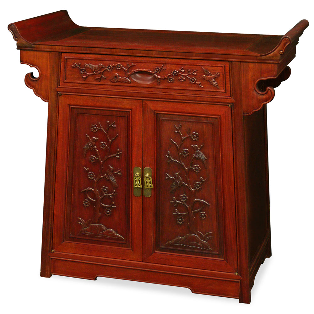 Altercabinet In Rosewood Flower Bird Motif Altar Cabinet