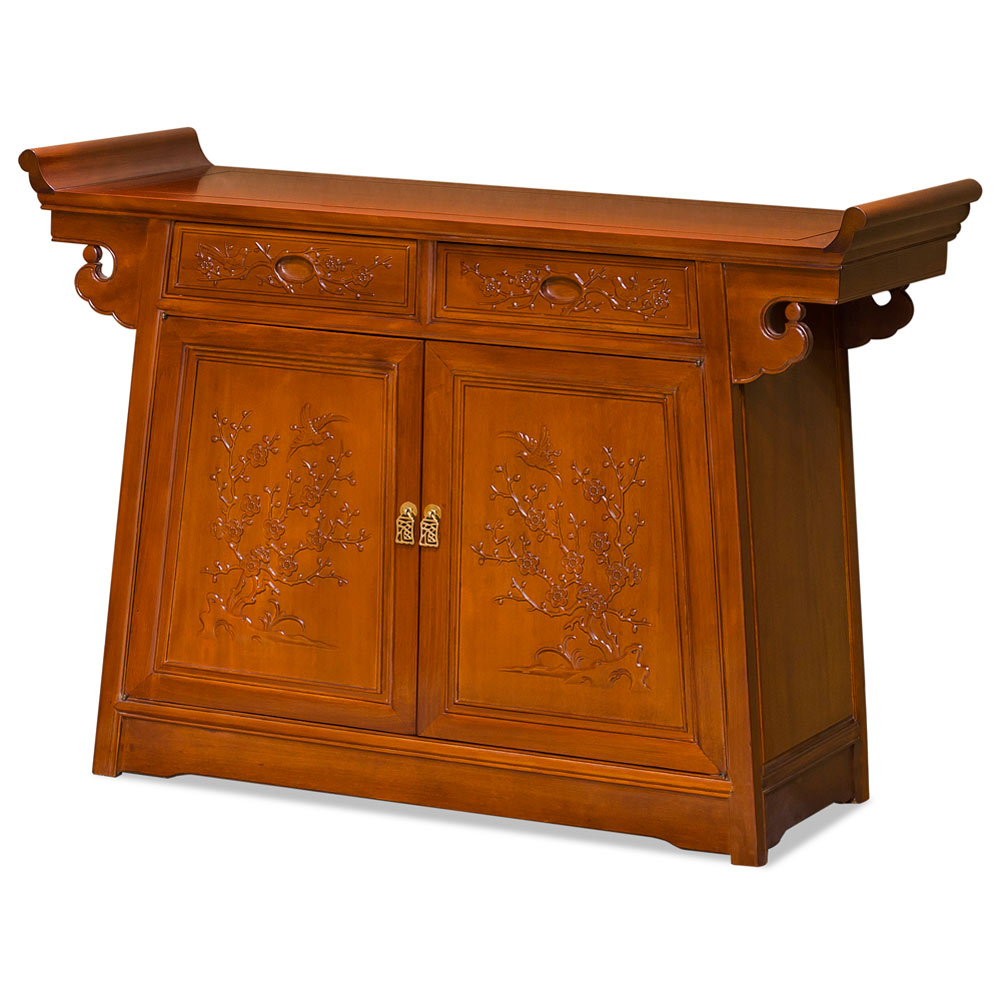 Natural Finish Rosewood Flower and Birds Asian Altar Cabinet