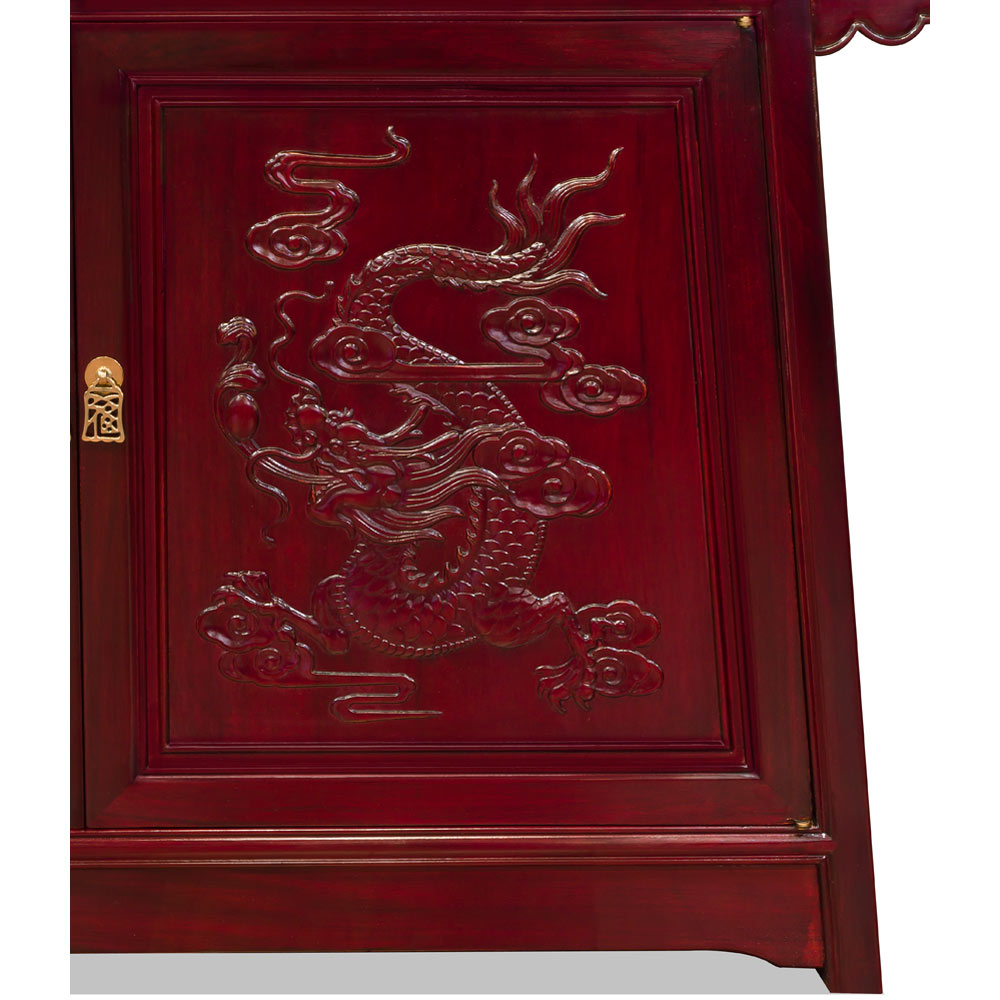 Dark Cherry Rosewood Prosperity Dragon Altar Cabinet