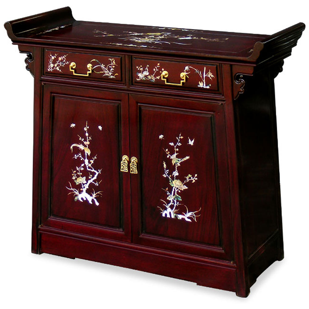 36in Rosewood Mother Pearl Inlay Altar Style Cabinet
