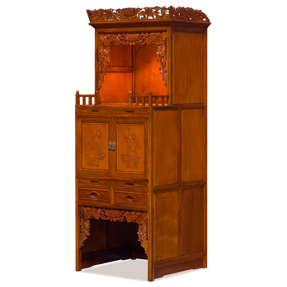 Natural Finish Rosewood 3 Level Lotus Altar Cabinet