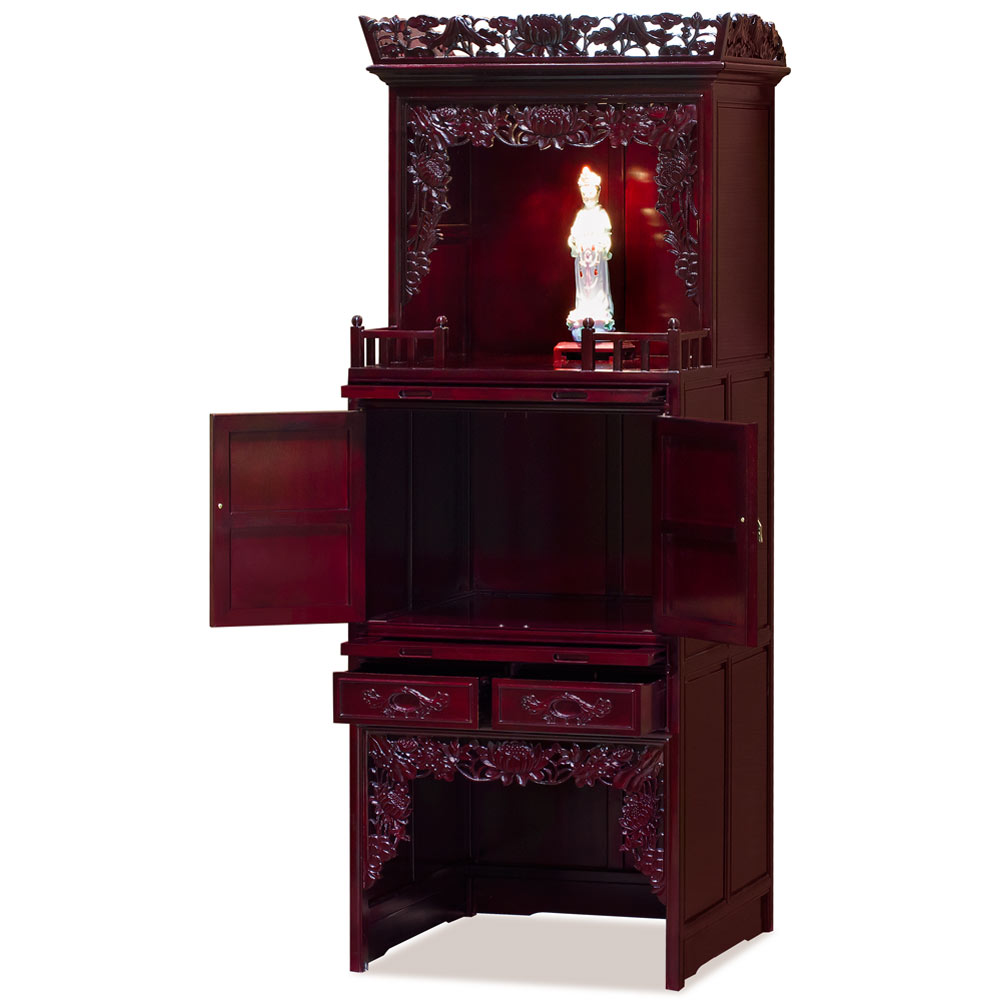 Dark Cherry Rosewood 3 Level Lotus Asian Altar Cabinet
