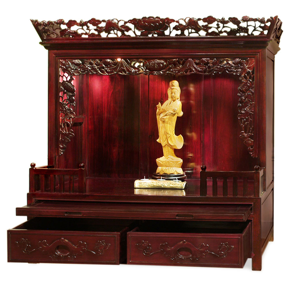 Rosewood Lotus Chinese Altar Cabinet