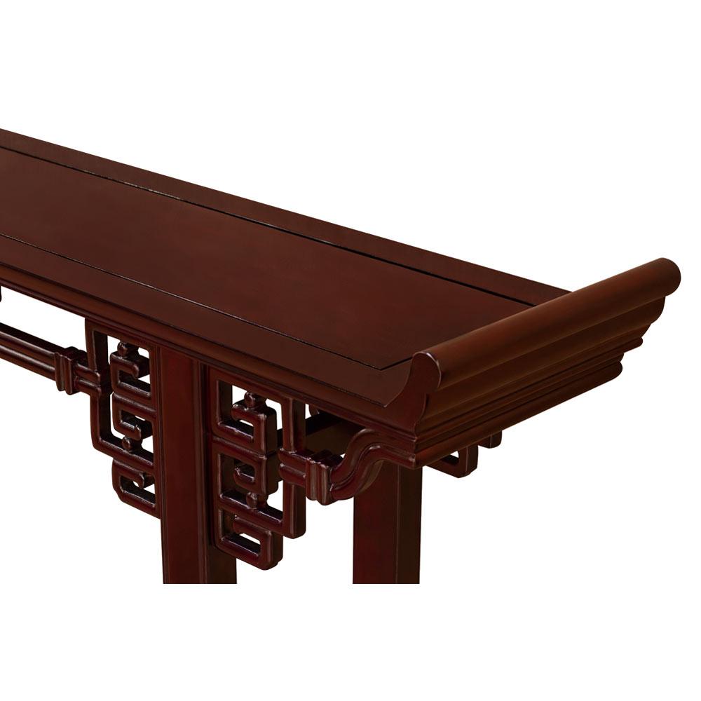72 Inch Dark Cherry Rosewood Coin Design Asian Altar Table