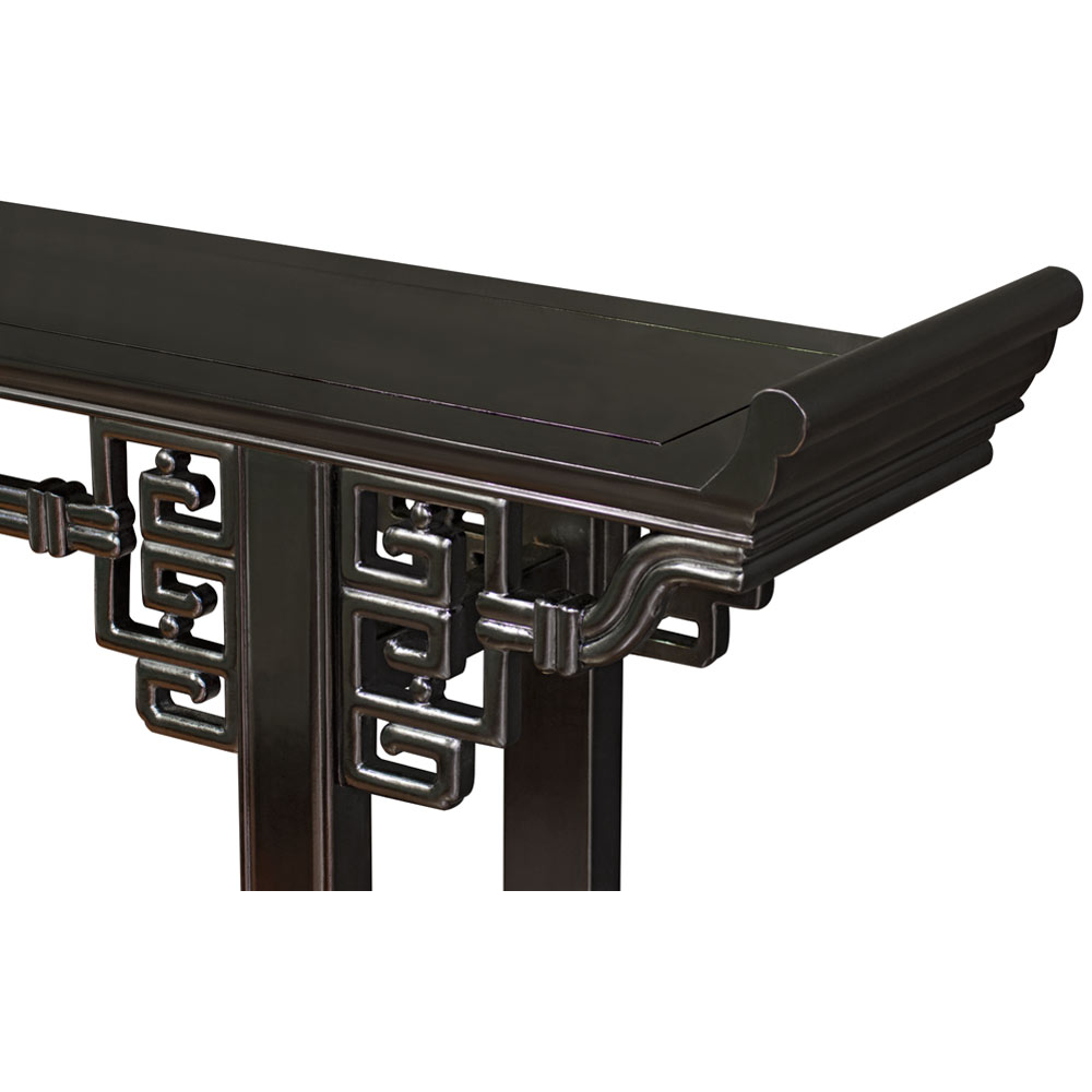 72 Inch Black Rosewood Coin Design Asian Altar Table